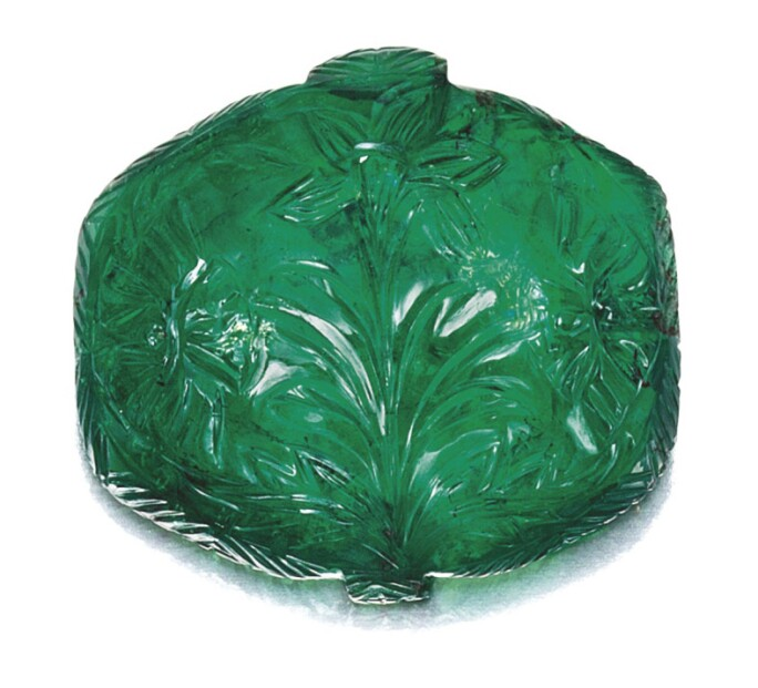 A Rare Mughal Carved Emerald, 17th Century. LOT SOLD. HKD 4,320,000