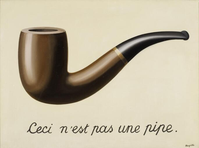 """A painting of a pipe on a canvas with the words """"This is not a pipe"""" written below."""
