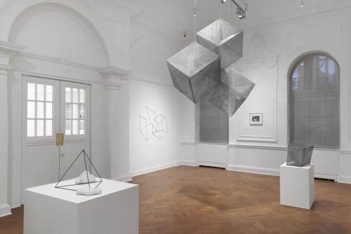 Installation view of Lydia Okumura's Volume '84, 1984, in Galerie Thaddeus Ropac