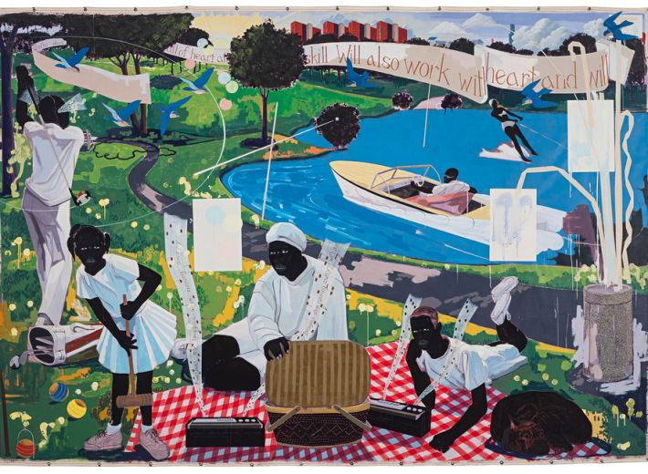 Kerry James Marshall painting in an auction selling contemporary art