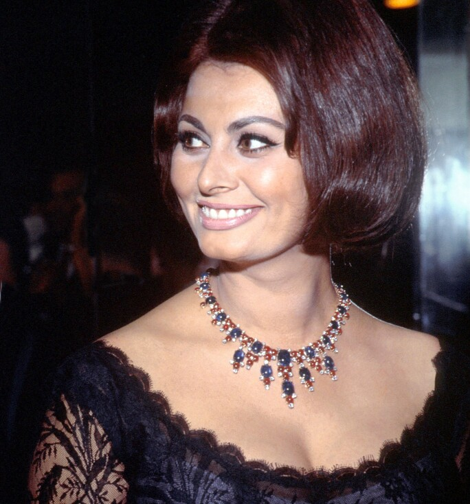 Sophia Loren wearing a Bulgari necklace, 20 June 1962 (photo)