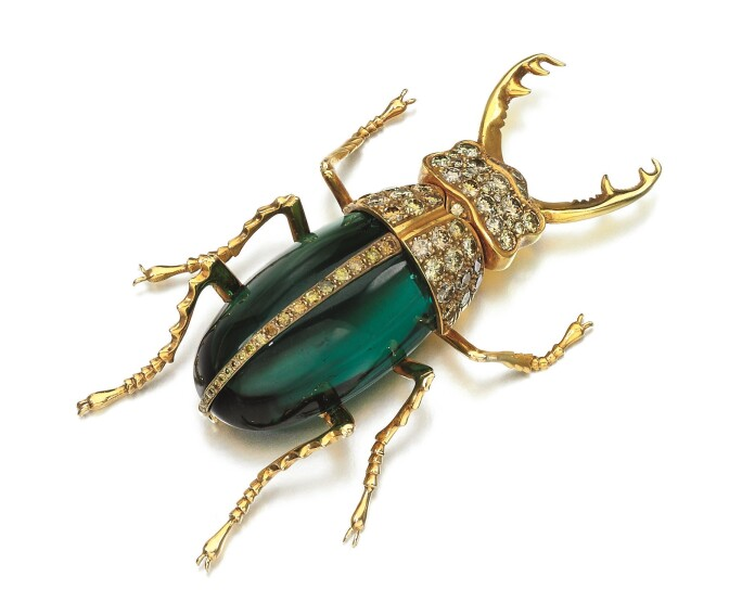 Tourmaline-and-diamond-stag-beetle-brooch
