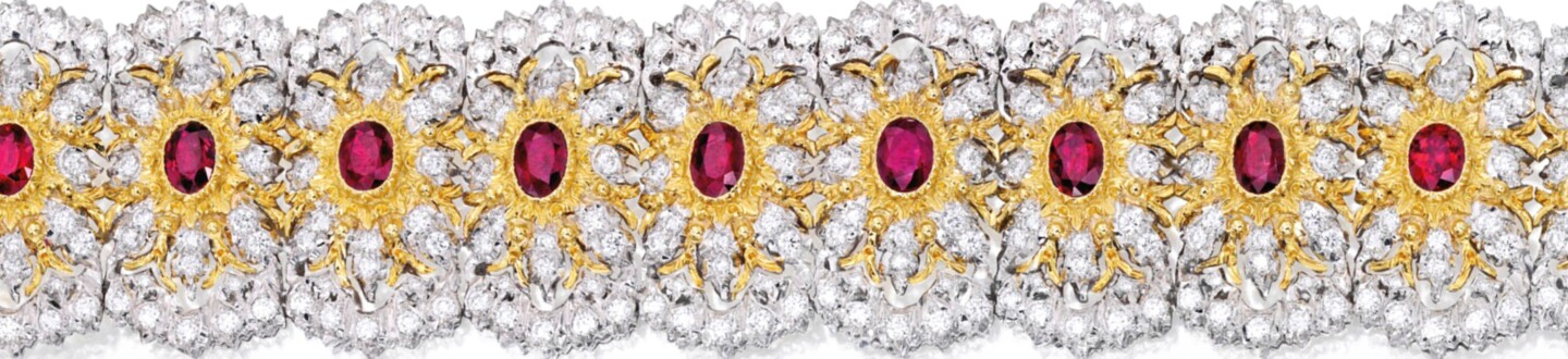 Buccellati diamond and ruby bracelet in an auction selling fine jewelry