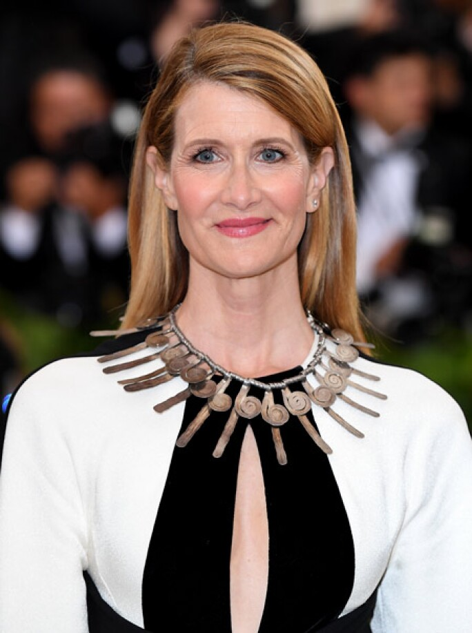 Actress Laura Dern wearing a vintage necklace by Alexander Calder