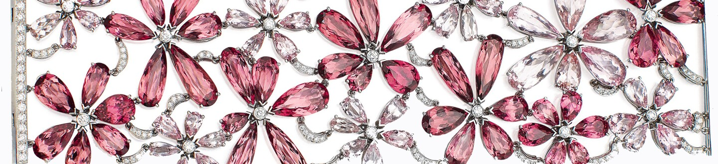 tourmaline floral diamond bracelet in an auction selling tiffany jewelry