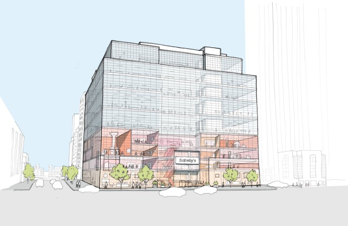 Exterior sketch of Sotheby's New York Headquarters. Sotheby's - Credit OMA New York.jpg
