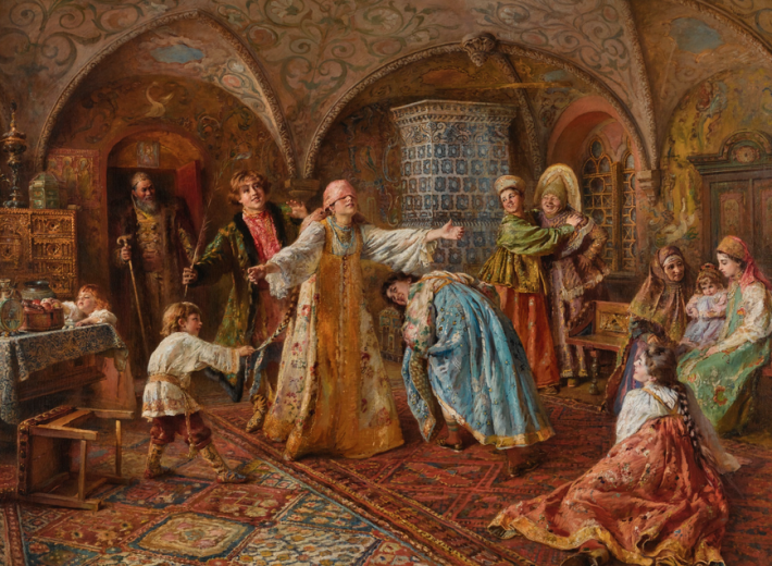Painting by Konstantin Egorovich Makovsky in an auction selling Russian paintings