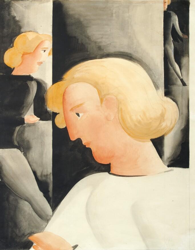 Oskar Schlemmer Three Blondes Diagonally