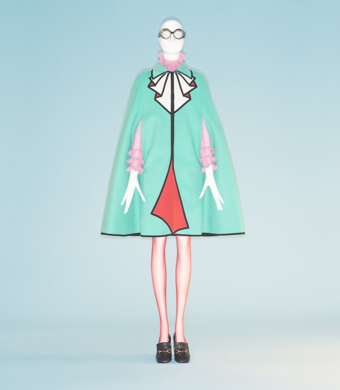 Gucci trompe l'oeil dress with ruffled cape details