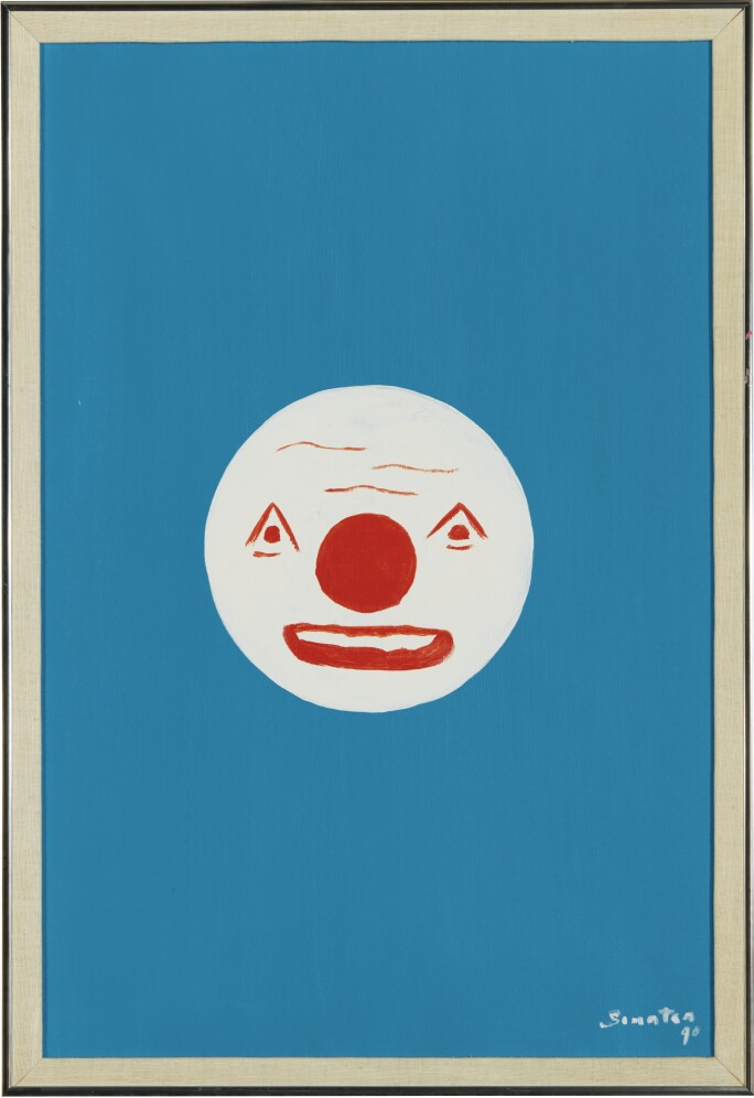 Picture of a clown grimacing.