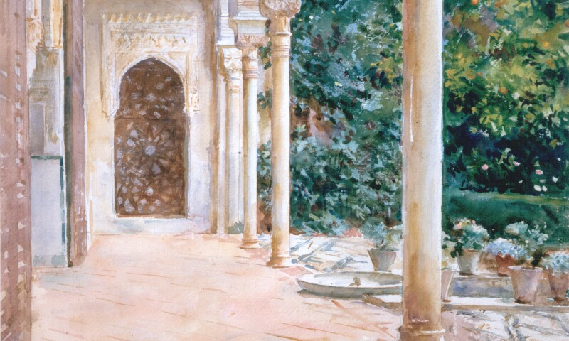 John Singer Sargent, Loggia, View at the Generalife, c. 1912, watercolour on paper, over preliminary pencil, 39.4 x 53.2 cm, Aberdeen Art Gallery & MuseumsCollections. Purchased in 1927, half the auction price met by Sir James Murray.jpg