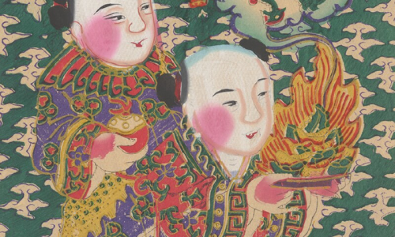 Two boys promised wealth, workshop in North China, around 1940, woodblock print