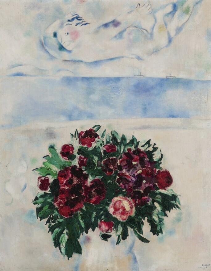 Marc Chagall: L'esprit de roses (au-dessus des fleurs), 1926