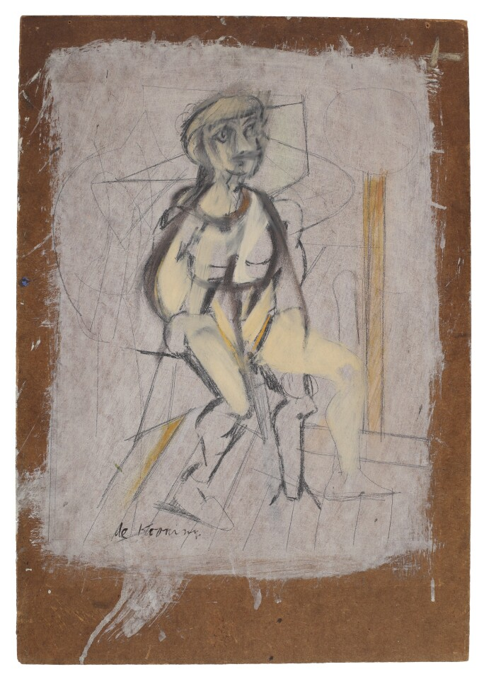 An abstract seated woman rendered in white.
