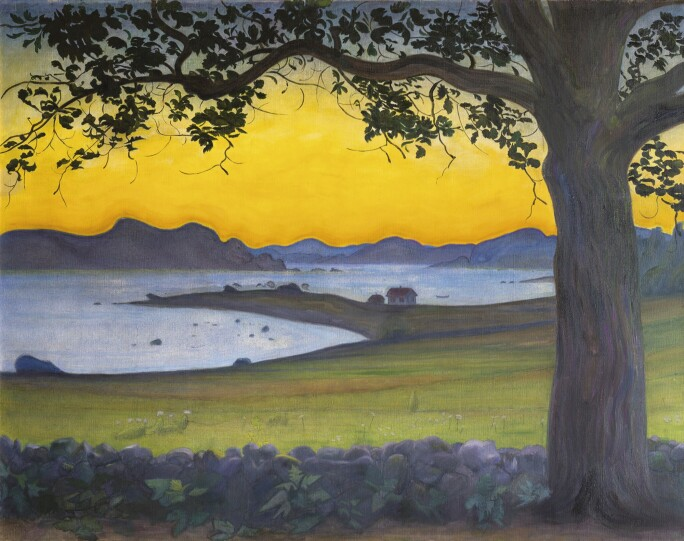 Harald Sohlberg, From Værvågen, The Fisherman's Cottage, 1921. Sold at Sotheby's London in 2016