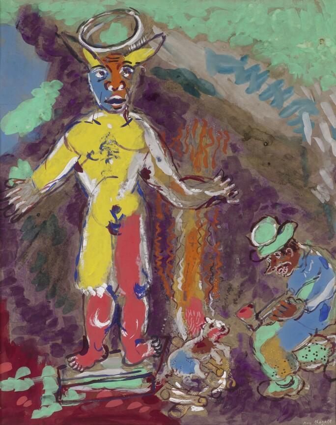 Lot 260, Marc Chagall, L'Homme et l'idole de bois (Fables de La Fontaine), gouache, brush and ink, crayon and pencil on paper, circa 1927, Impressionist & Modern Art Day Sale November 13th, 2018, estimate $ 350,000-450,000.jpg