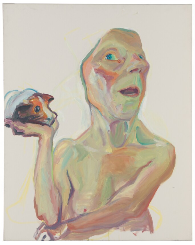 Maria-Lassnig,-Selbst-mit-Meerschweinchen,-2000.-Particuliere-collectie.-Courtesy-Hauser-&-Wirth-Collection-Services.jpg
