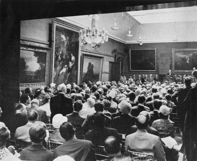 Sotheby's Main Gallery in London with the Westminster Rubens selling for £275,000, then the highest price paid for a picture at auction, 24 June 1959.jpg