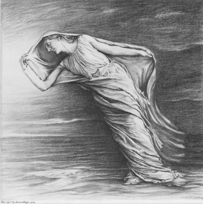 Drawing of a woman as Dawn leaning into the wind.