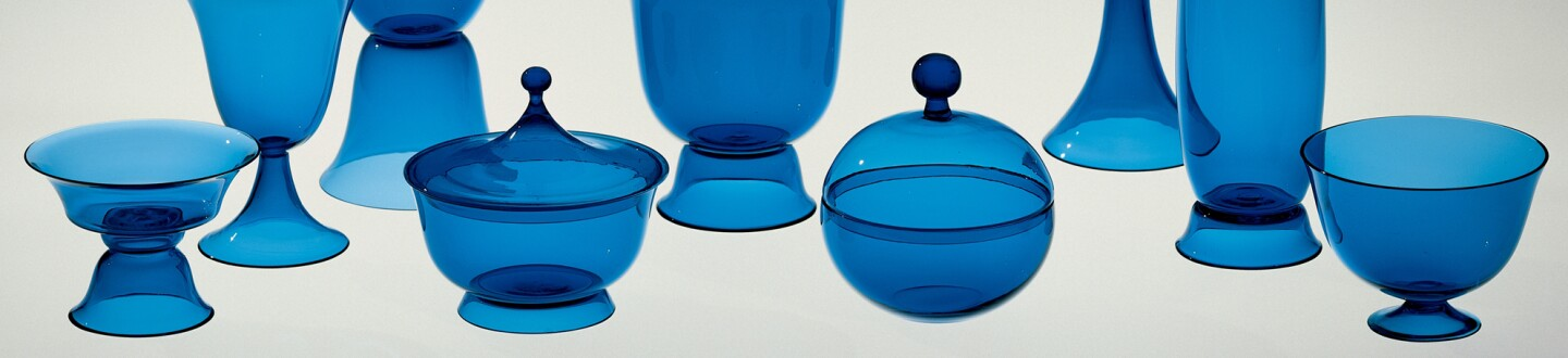 Josef Hoffmann, Tableware Set of Nine Blown Vessels
