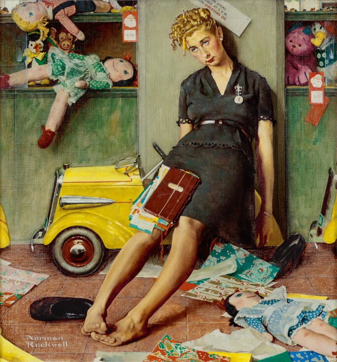 norman rockwell tired girl on christmas evejpg - When Was Christmas Created