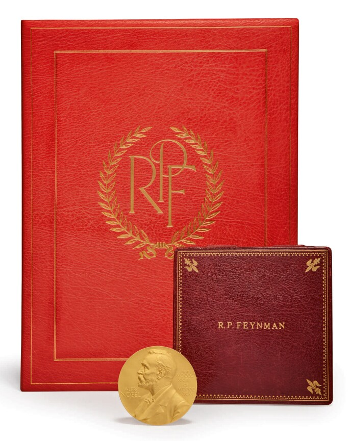 Richard Feynmans Nobel Prize Displayed In Front Of Its Case
