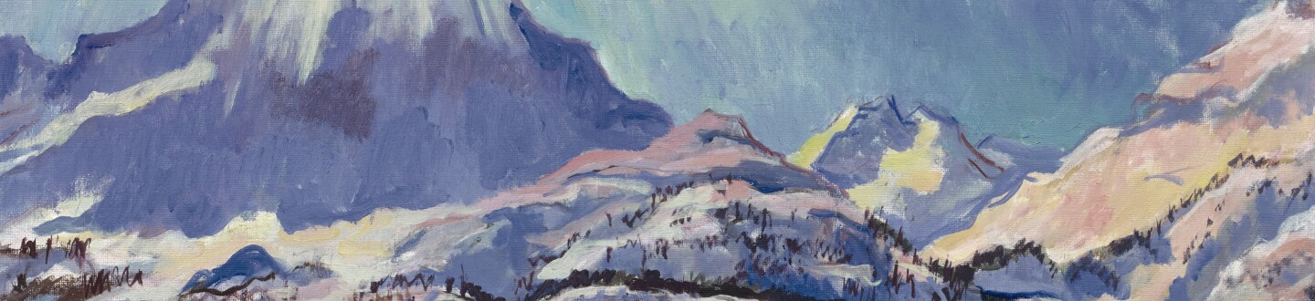 Painting of the Swiss Alps in an auction selling Swiss paintings