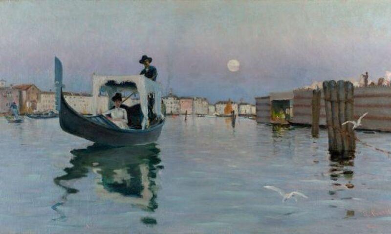 Ralph Wormeley Curtis (American, 1854-1922), Return from the Lido, 1884. Oil on canvas, 74 x 142 cm (29 1-8 x 55 7-8 in.) Isabella Stewart Gardner Museum, Boston (P3n1).jpg