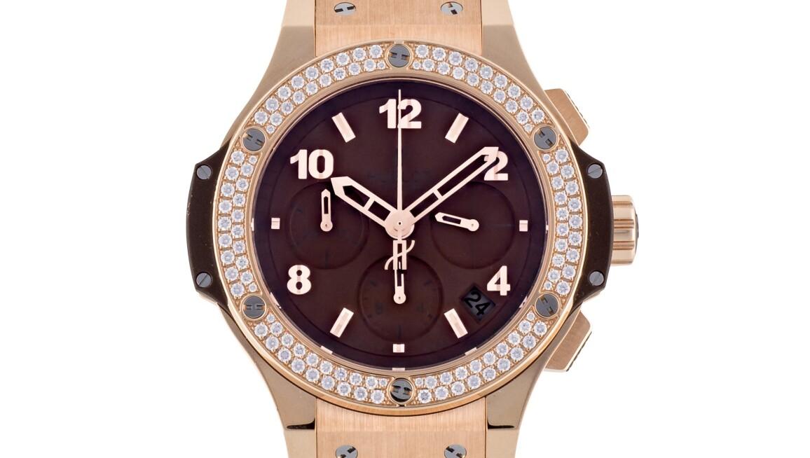 Hublot pink gold chronograph watch diamonds