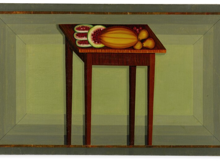 Painted fireboard in a naive style in an auction selling folk art paintings