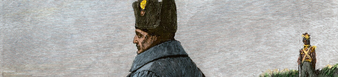 Napoleon in exile on St. Helena as a British prisoner. Hand-colored woodcut