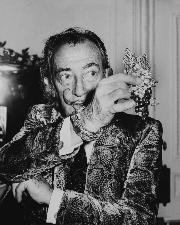 Salvador Dali Showing His Latest Jewel Grapes Of Immortality. 1970'S