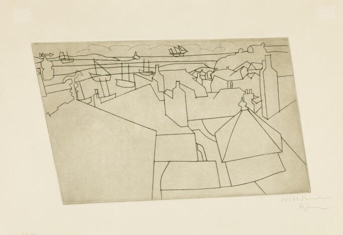 Ben Nicholson, St Ives From Trezion (L. 43; C.62). Estimate £3,000-5,000