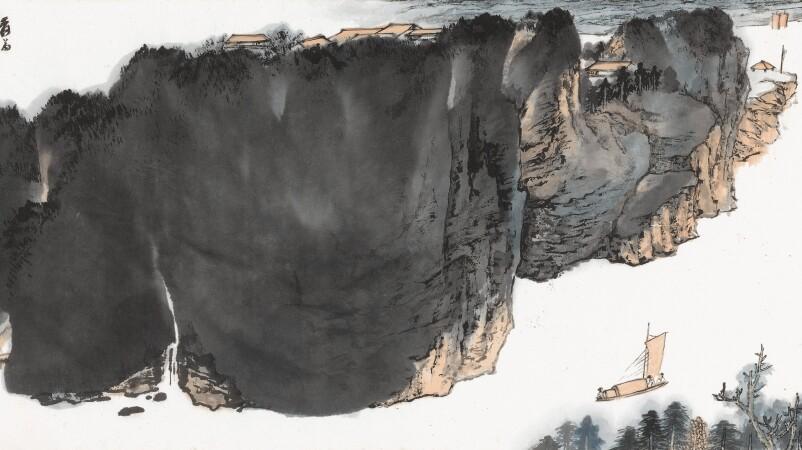 Zhang Daqian, Scholar's Boat Passing Lofty Mountains. Estimate $300,000–400,000.