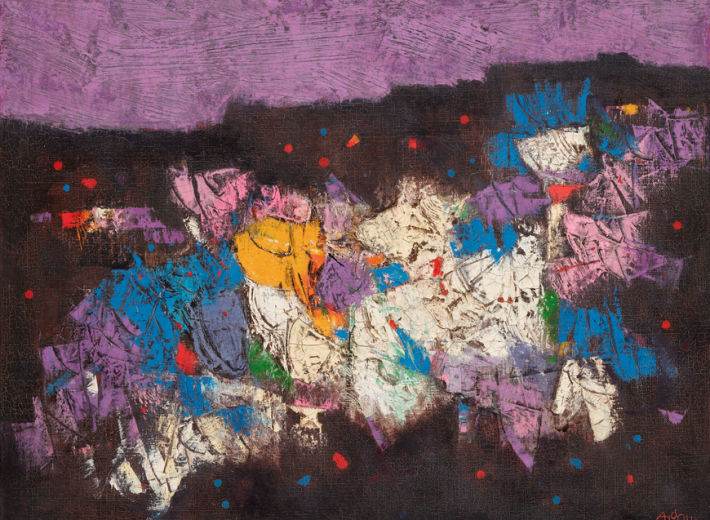 an israeli painting by Mordecai Ardon in an auction selling paintings by israeli artists