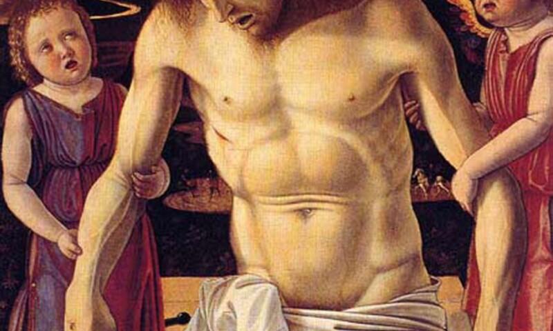 Giovanni Bellini (1434:39 - 1516) Cristo morto sorretto da due angeli (1453 - 1455) Olio (?) su tavola, cm. 64 x 50 Venezia, Museo Correr.jpg