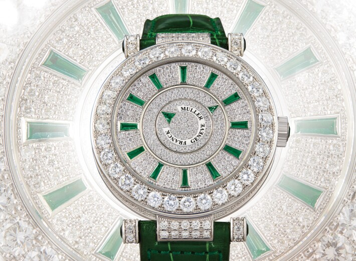 Franck Muller master double mystery watch with diamonds in an auction selling franck muller watches