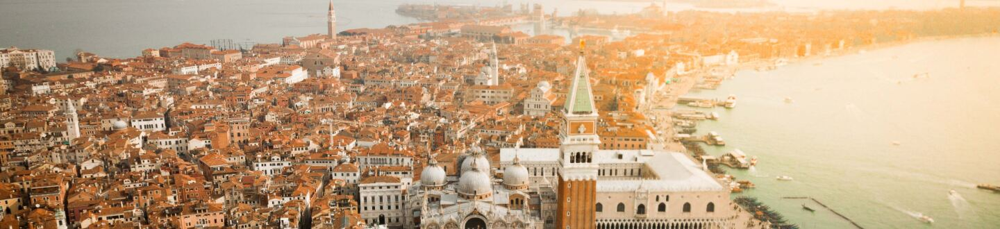 An aerial view of Venice