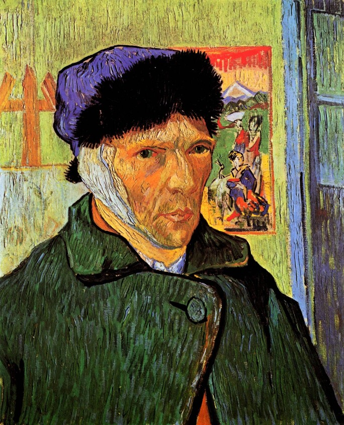 Self Portrait of  Vincent Van Gogh with Bandaged Ear.