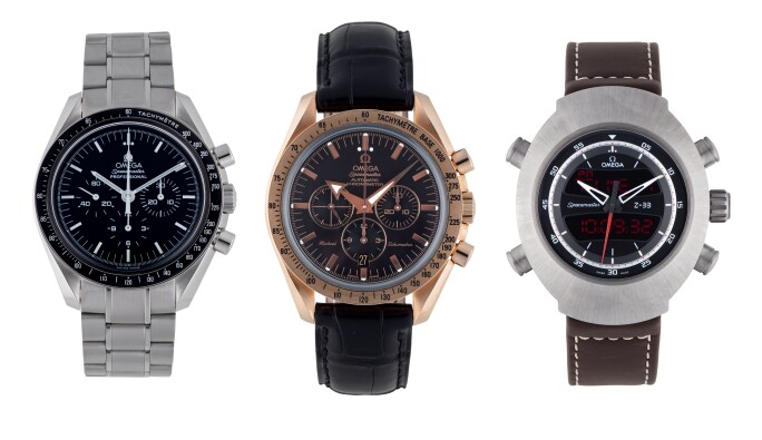 Three Omega Chronographs, for sale in the Watches Online Auction