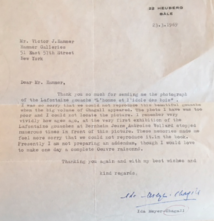 A letter from Ida Chagall discussing Ambroise Vollard's affinity for the present work ©Archives Marc et Ida Chagall, Paris.png