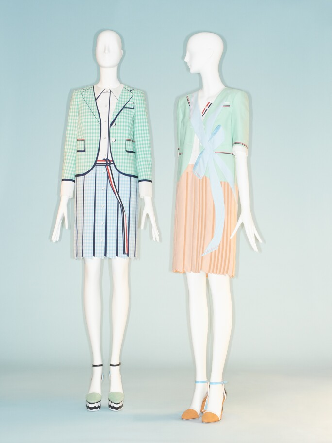 Thom Browne trompe l'oeil dresses in green and pink