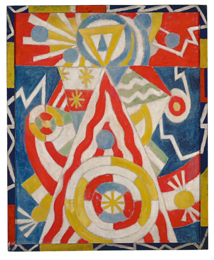 An abstract painting in blue, yellow, red and white with geometric forms
