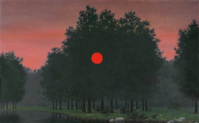 Surrealist image of a sunrise through a copse of trees.