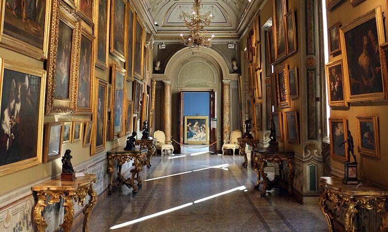 Interior view of the Palazzo Corsini of the Galleria Nazionale d'Arte Antica, Rome.