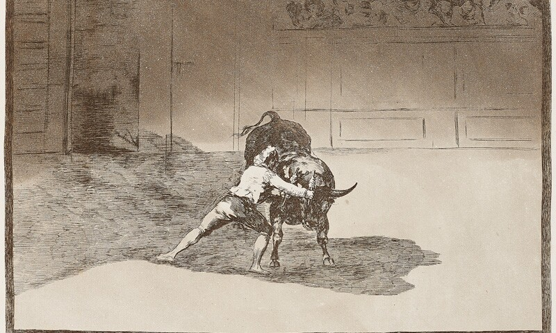 The Famous Martincho Places the Banderillas Playing the Bull with the Movement of His Body (El famoso Martincho poniendo banderillas al quiebro)