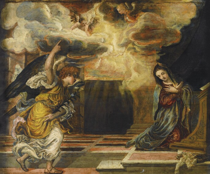 Image of the angel Gabriel coming to the Virgin Mary.