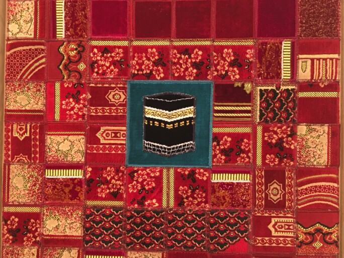 Mounir Fatmi, Collages of prayer rugs on canvas, 2006.