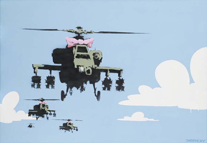 A painting of military helicopters with pink bows flying through a flat field of pale blue sky with cartoonish clouds.