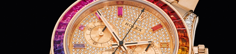 Rolex, Daytona Rainbow, Reference 116595rbow Pink Gold Diamond and Sapphire-Set Chronograph Wristwatch with Diamond, Sapphire-Set Dial and Case with Bracelet, circa 2018.